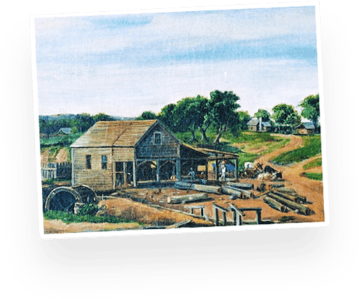 A historical illustration of lumber mill