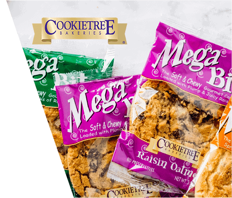 Four packages of various flavored Cookietree Bakeries Mega Bites gourmet cookies