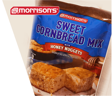 A package of Morrison's brand Sweet Cornbread Mix with Honey Nuggets