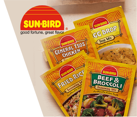 Photo of various Sun Bird Asian seasoning packages alongside the Sun Bird corporate logo