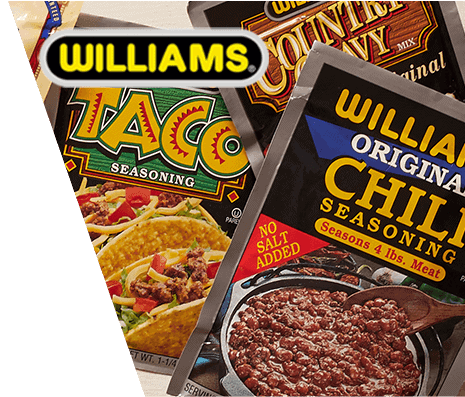 Three various packages of Williams brand mixes