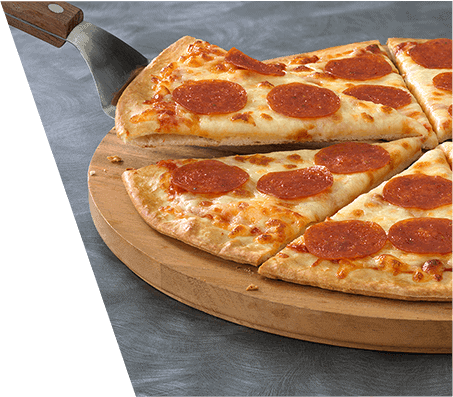 A thin crust pepperoni pizza on wooden server