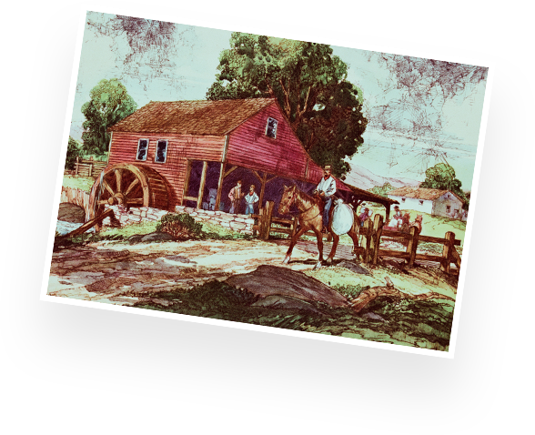 historical illustration of a man on a horse by an old water-powered flour mill
