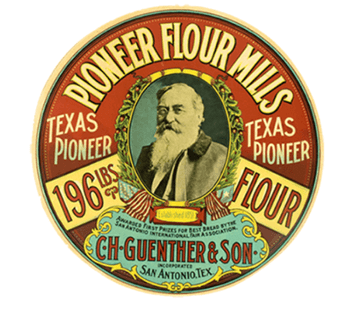 A historical logo for Pioneer Flour Mills