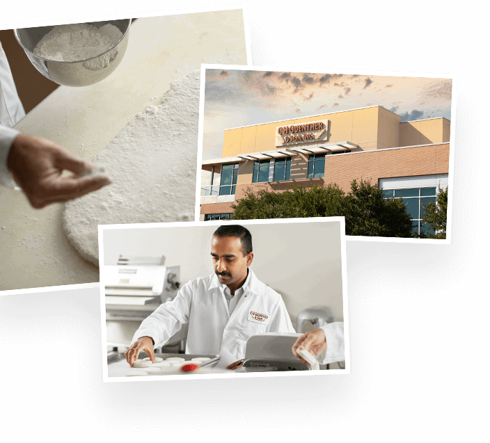 A collage of photos including the exterior of the CH Guenther and Son corporate office and a CH Guenther food innovator working with flour.
